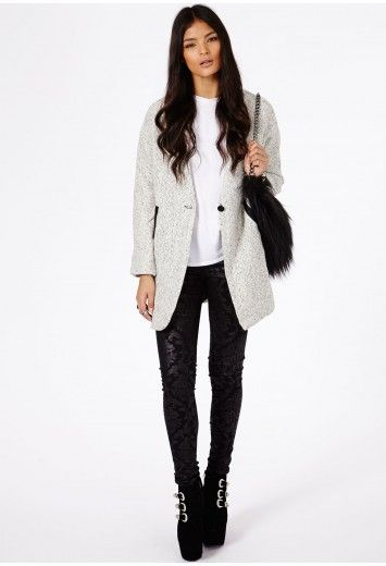 Missguided Petera Tweed Boyfriend Coat