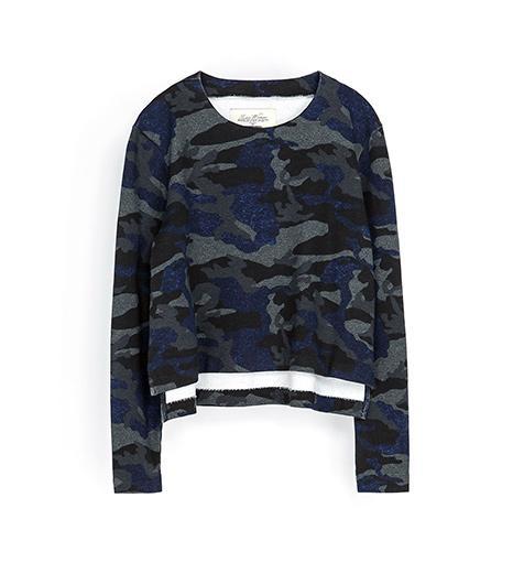 Zara  Zara Camouflage Velour Top