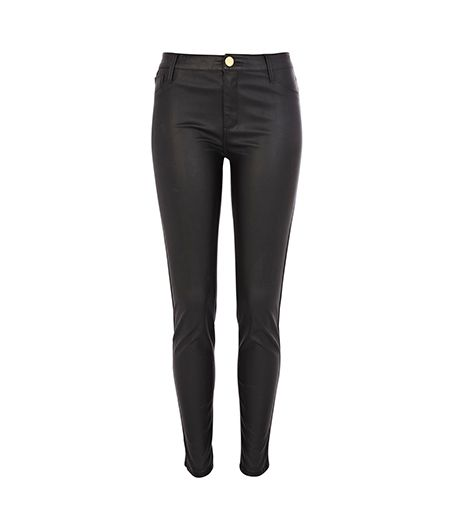 River Island  Black Leather Look Skinny Pants