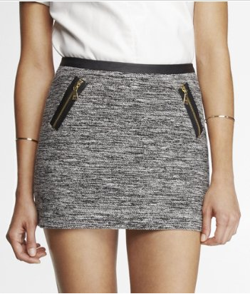 Express  Zippered Marled Boucle Mini Skirt