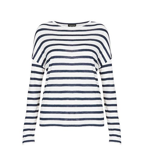 Topshop  Linen Stripe Long Sleeve Tee