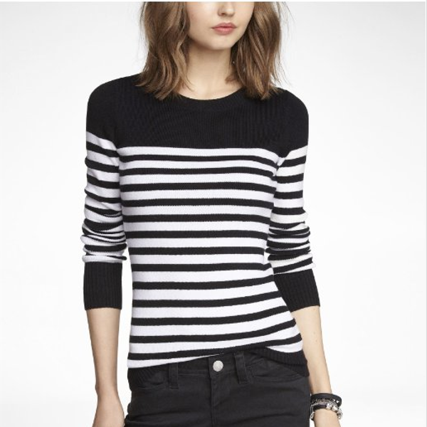 Express  Striped Fitted Crew Neck Sweater