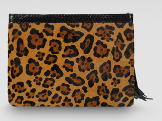 Rafe Celia Large Leopard-Print Calf Hair Clutch