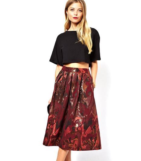 Asos Asos Full Midi Skirt in Camo Jacquard Print