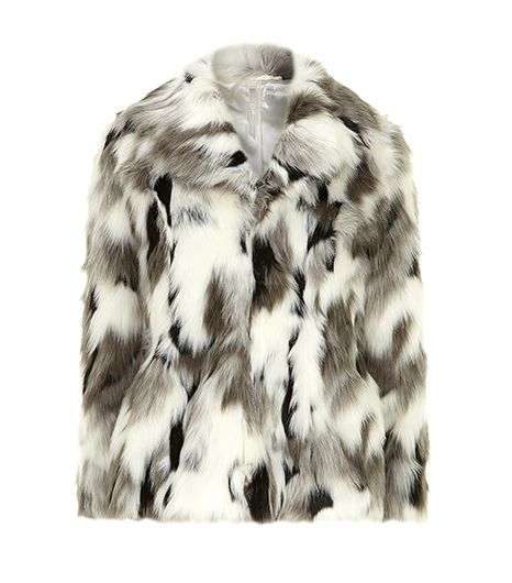 DP Collection  White and Grey Faux Fur Coat