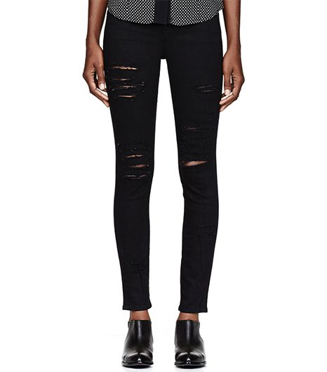 Frame Denim  Black Ripped Le Colour Skinny De Jeanna Jeans