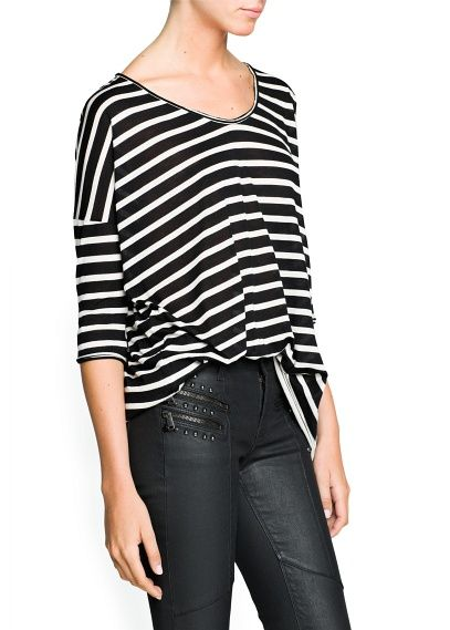 Mango  Striped Modal-Blend T-Shirt
