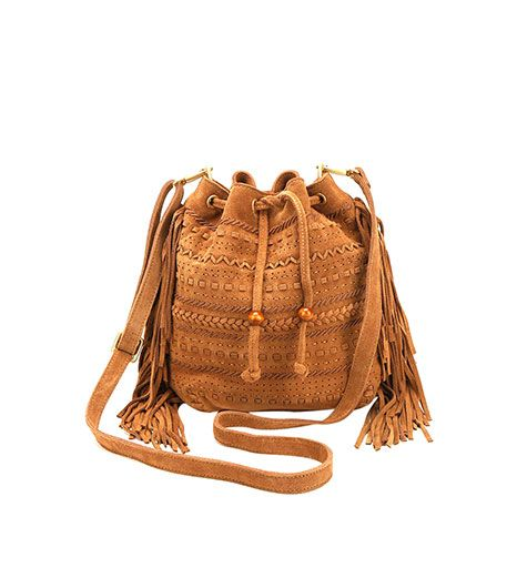 Urban Outfitters  Urban Outfitters Frida Suede Fringe Bucket Bag