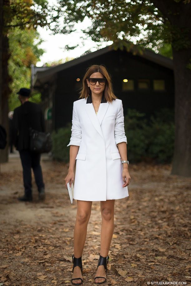 White Tuxedo Dress, Two Ways: Street Style Inspiration From Christine Centenera And Laetitia Casta