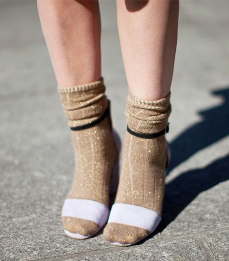 Haleigh Walsworth of Making Magique  Tip: Try a sparkly sock with strappy sandals as your next party outfit.