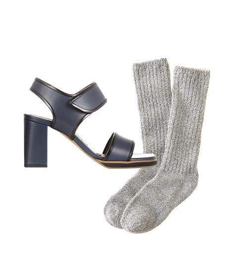 Marni Matte-Leather Sandals ($890)  J.Crew Women's Camp Socks ($17) in Oxford Marle
