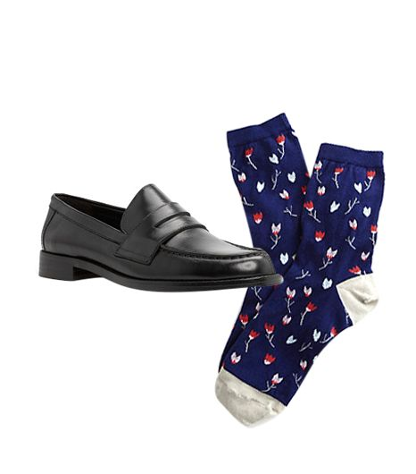 Mango Leather Penny Loafers ($130) in Black  Steven Alan Ditsy Floral Crew Socks ($14) in Navy