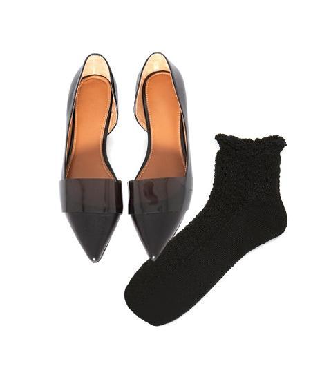 Pixie Market Patent Pointy Flats ($112)  Tabio Tuck Top Ruffle Vertical Pattern Socks ($15) in Black