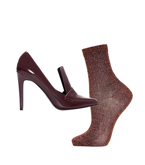 Zara High Heel Moccasin ($80)  Topshop Bronze Fine Glitter Ankle Socks ($6) in Bronze