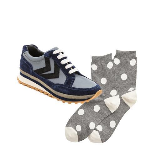Marc By Marc Jacobs Lace Up Sneakers ($248) in Grey/Blue/Black  LOFT Polka Dot Trouser Socks ($7) in Heirloom Grey