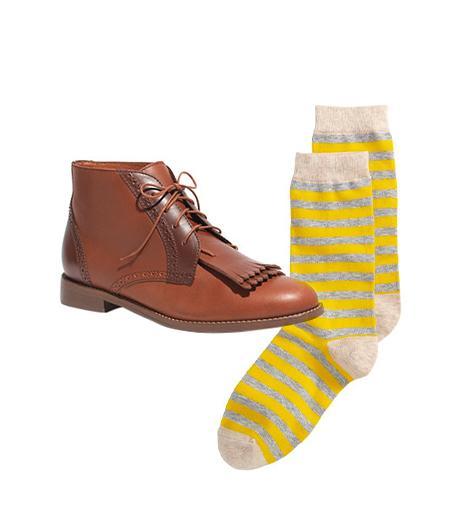 Madewell The Aberdeen Two-Tone Boot ($195) in Fire Wood  Gap Classic Stripe Socks ($8) in Lemon Tonic