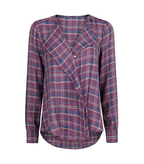 Mango Flap Check Blouse