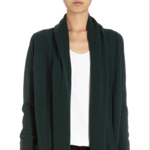 Barneys New York  Drape Cardigan with Quilted Leather