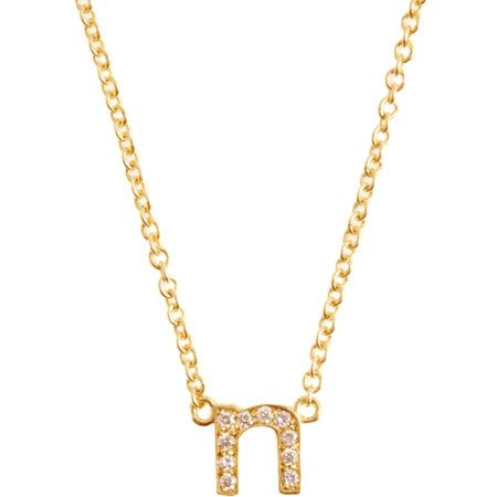 Jennifer Meyer  Yellow Gold & Diamond 'N' Initial Pendent Necklace