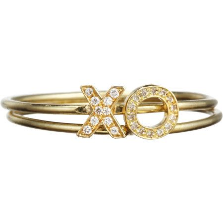 Jennifer Meyer  Diamond Lowercase XO Initial Ring Set