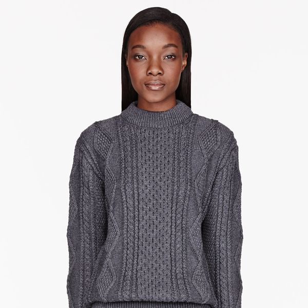 Marc Jacobs  Grey Cableknit Mock Turtleneck Sweater