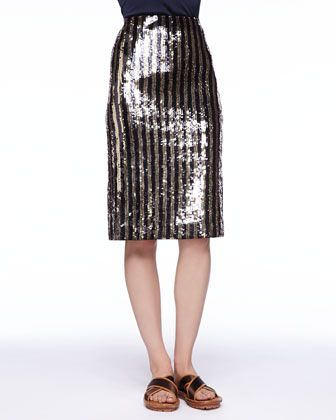 Marc Jacobs  Striped Sequin Pencil Skirt