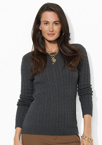 Lauren Ralph Lauren  Cable-Knit Cotton Crewneck