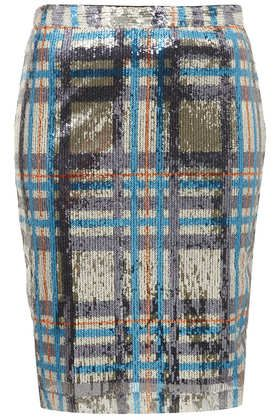Topshop  Sequin Check Pencil Skirt