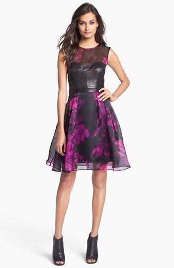 Milly  Leather Bodice & Print Silk Organza Dress