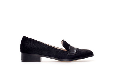 Zara Pointed Furry Leather Moccasins