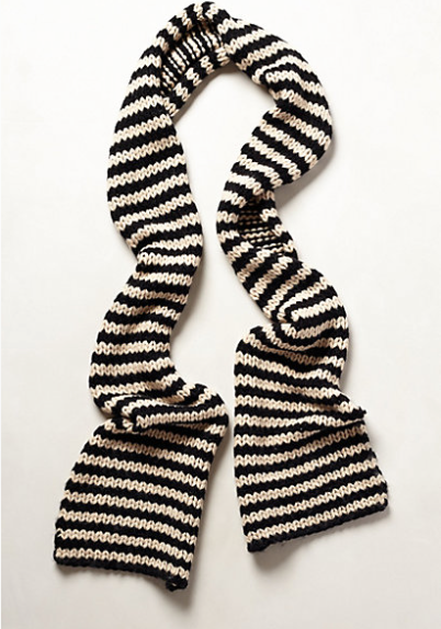 Anthropologie  Newsprint Striped Scarf