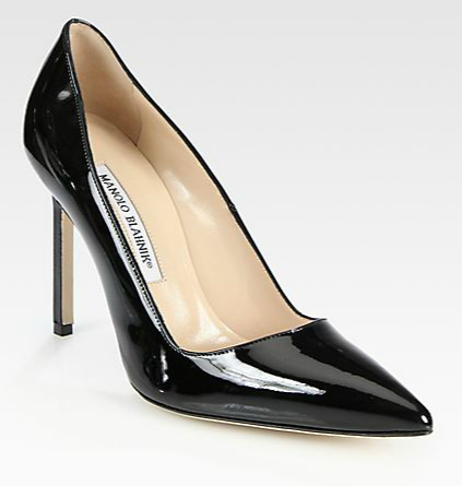 Manolo Blahnik  BB Patent Leather Point Toe Pumps