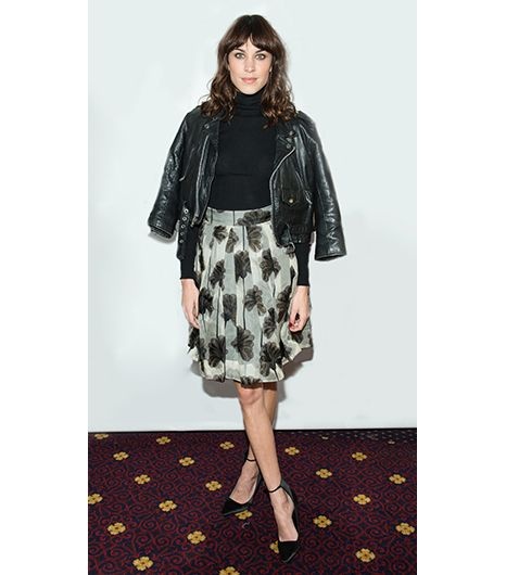 Alexa Chung  Something about the contrast between a tough motorcycle jacket and sweet filmy frock never gets tired. At the 8th Annual Teen Vogue University, guest speaker Chung executed the look...