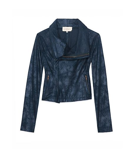 Georgie Exclusive Leather Like Perforated Sleeve Moto Jacket
