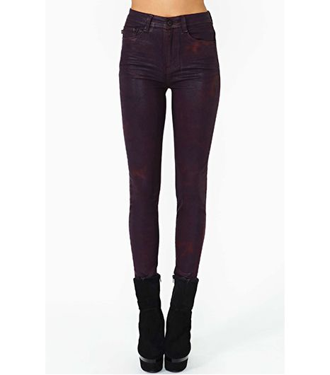 Nasty Gal Bordeaux Coated Skinny Jeans