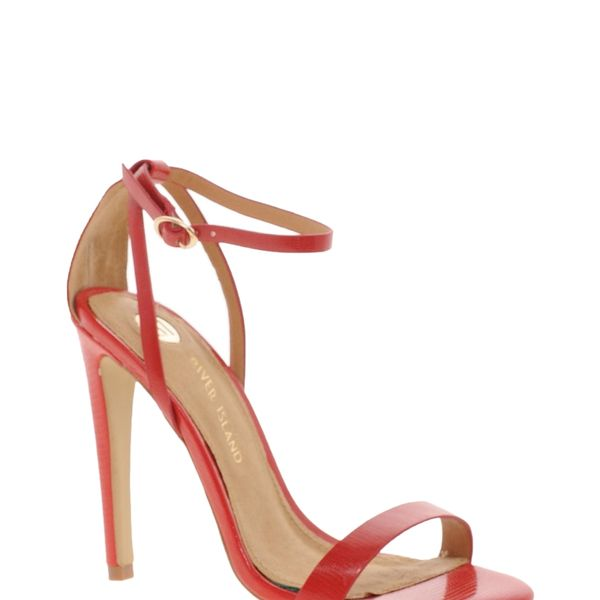 River Island  River Island Barely There Red Heeled Sandals