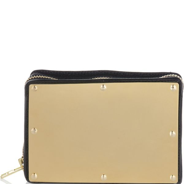 Sophie Hulme  Sophie Hulme Textured-Leather and Brass Box Clutch