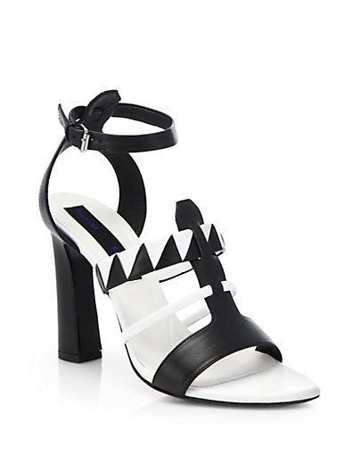 Proenza Schouler  Proenza Schouler Black & White Leather Sandals