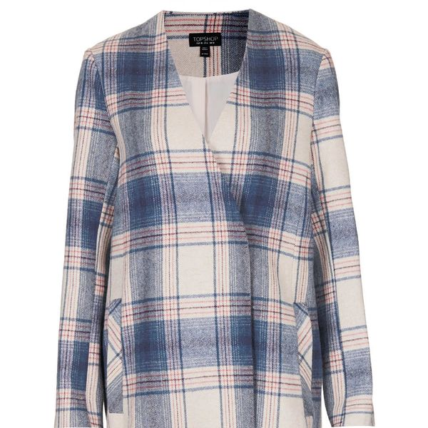 Topshop Pale Check V Front Coat