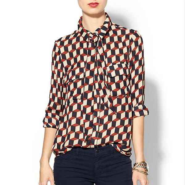 Isabel Lu  Geo Neck Tie Blouse