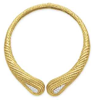 David Webb  Diamond and Gold Necklace