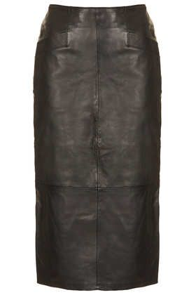 Topshop  Leather Calf Pencil Skirt