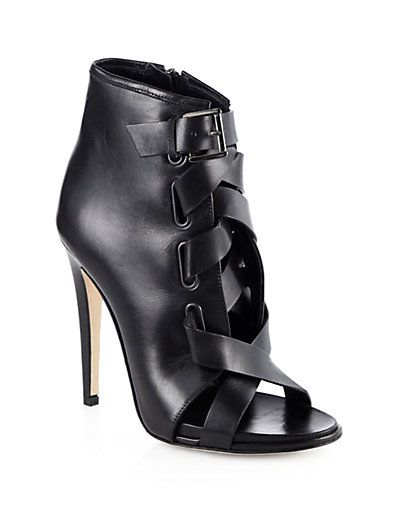 Diane von Furstenberg  Radcliff Leather Open-Toe Ankle Boots