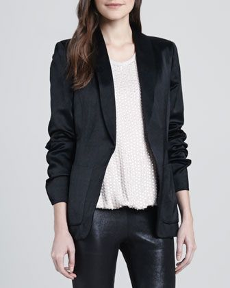 L'Agence  Long-Sleeve Satin Blazer