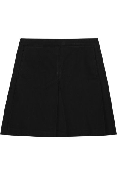 Victoria Beckham Denim  Pleated Cotton-Drill Mini Skirt