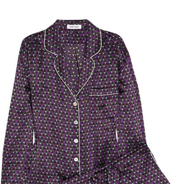 Olivia Von Halle Alba Tatjana Printed Silk-Satin Pajama Set