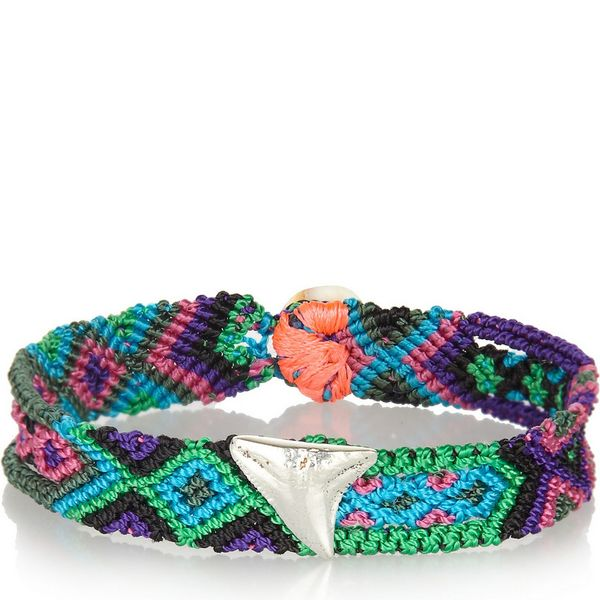 Dezso By Sara Beltran Blues Sharktooth Woven-Cotton And Silver Friendship Bracelet