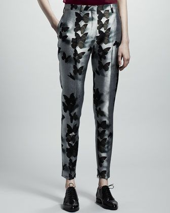 Lanvin  Butterly-Print Ankle-Zip Pants