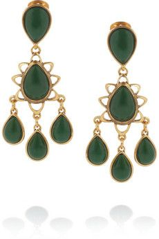 Oscar de la Renta  Gold-Plated Cabochon Clip Earrings