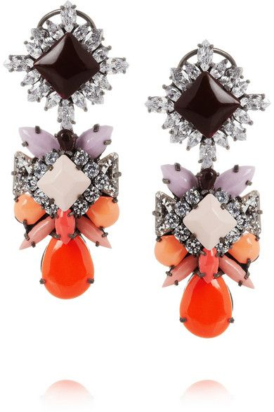 Shourouk  Blondie Harlow Silver-Plated Swarovski Crystal Earrings